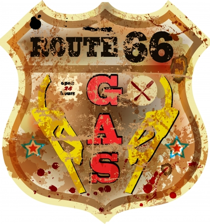 vintage route 66 gas station sign, rusty and weathered, vector illustration Vector