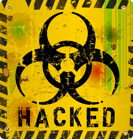 virus alert: computer virus, hacked website alert sign, vector illustration