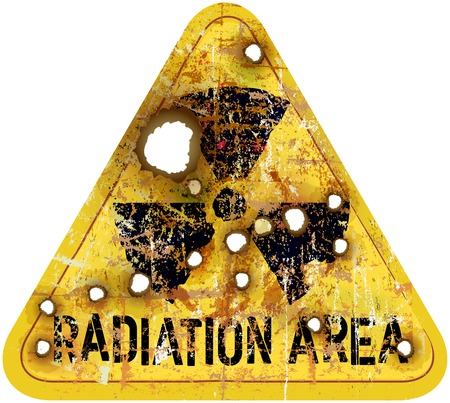 residuos toxicos: La advertencia de zona de radiación, agujeros de bala w, ilustración vectorial