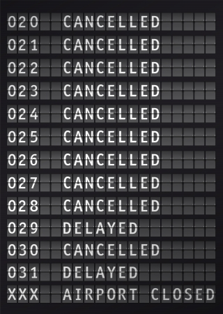 delay: Flight information on airport during a snow storm, vector