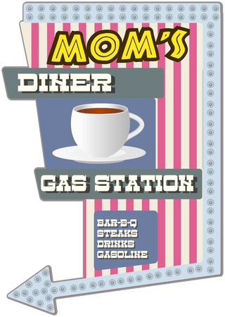Vintage diner sign, vector illustration, scalable to any size  Vector