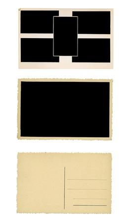 knocked out: Marco de fotos, una postal, un conjunto de objetos de papel de la vendimia, copia espacio libre