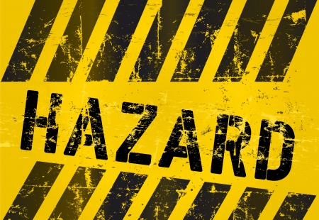 hazard Warning sign, worn and grungy, Stock Vector - 25462923