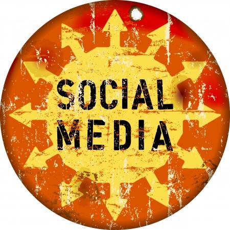 bookmarking: retro social media sign, grungy , vector illustration Illustration