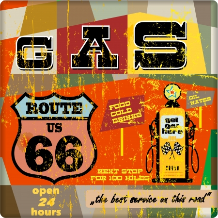 estacion de gasolina: Muestra de la estación de gas de la vendimia en la ruta 66, vector EPS 10 Vectores
