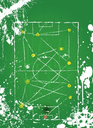Soccer o   Football tactical diagram, grunge style, vector