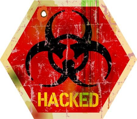 コンピューター ウイルス警告サイン、ベクトル イラスト