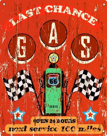 vintage gas station sign,route 66 Stock Illustratie