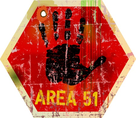 traffic accident: warning sign   area 51     , illustration
