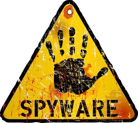 virus alert: computer virus   spyware alert sign, illustration Illustration