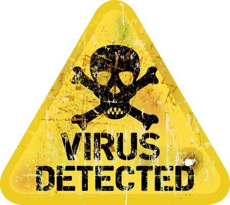 Computer virus alert, grungy sign
