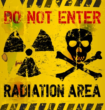 caution chemistry: Radiation area warning illustration