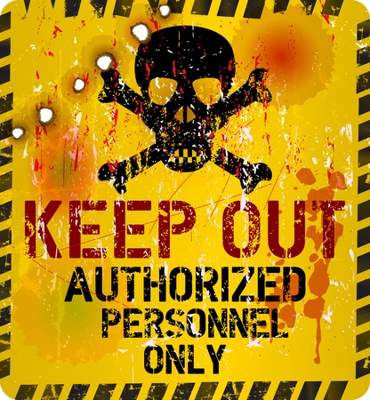 Keep out warning sign with bullet holes