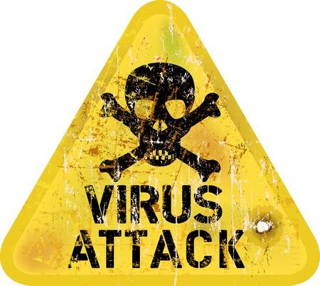 virus alert: Computer virus alert, grungy sign