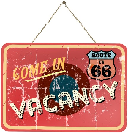 holidays vacancy: vintage vacation sign, route 66, vector illustration