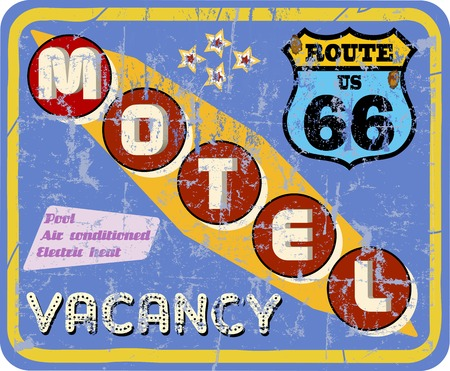 retro route 66 Motel sign,vacation,  vector Vector