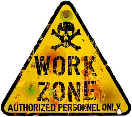 worn sign: work area,warning   prohibition sign, vector