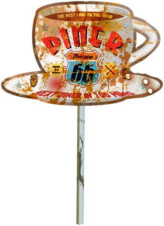 vintage route 66 diner sign, worn and weatherd, vector Vector