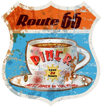 retro route 66 diner sign,weathered and worn, vector illustration Vector