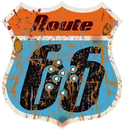 vintage route 66 road sign w  bullet holes, vector Vector