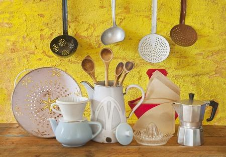 various vintage kitchen utensils photo