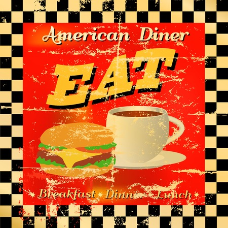 retro diner sign, worn and weathered, vector eps Vector