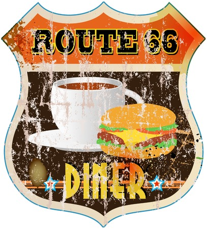 retro route 66 diner sign, vector eps 10 Vector
