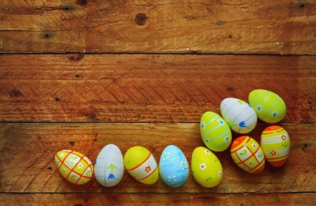 easter eggs on wooden background, free copy space photo