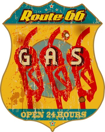 vintage route 66 gas station sign  Vector