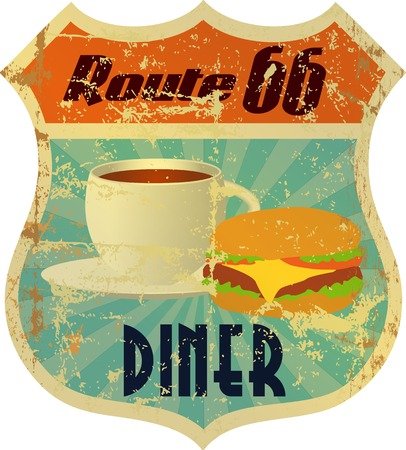 retro route 66 diner sign, grunge style  Vector