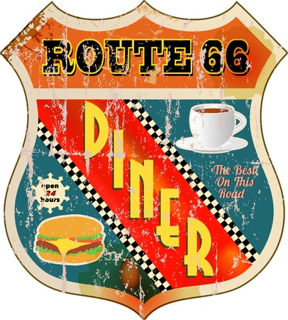 66: retro route 66 diner sign  Illustration