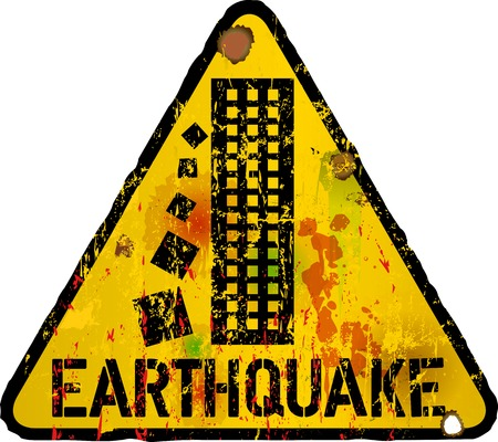 cautious: danger sign, earthquake warning sign, vector