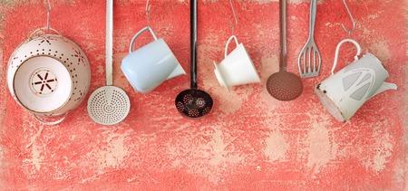 vintage kitchen utensils, cooking concept, free copy space  Standard-Bild
