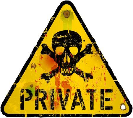 private sign, warning   prohibition sign, vector Ilustração