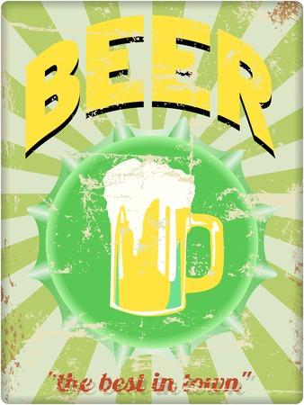 beer tap: retro beer enamel sign, vector