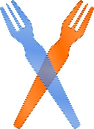 plastic fork for french fries, vector illustration Vector