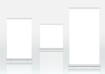 displays: Roll up banner displays, free copy space Illustration