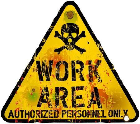 zone: work area,warning  prohibition sign, vector Illustration