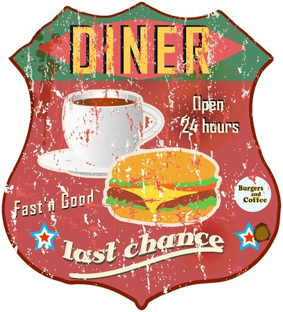 Vintage diner sign, road sign vector Vector