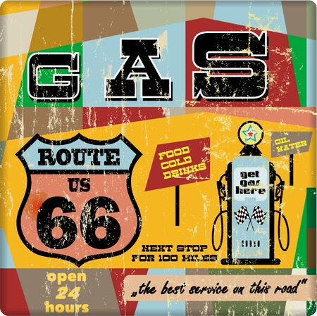 vintage gas station sign on the route 66, vector eps 10  Vector