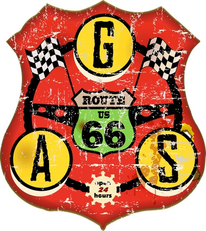 vintage route 66 gas station sign, retro style, vector illustration Vector
