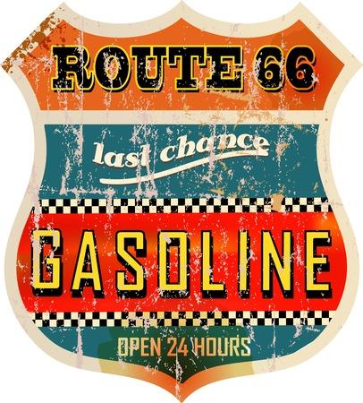 ビンテージ ルート 66 ガスステーション記号、レトロなスタイルは、ベクトル イラスト