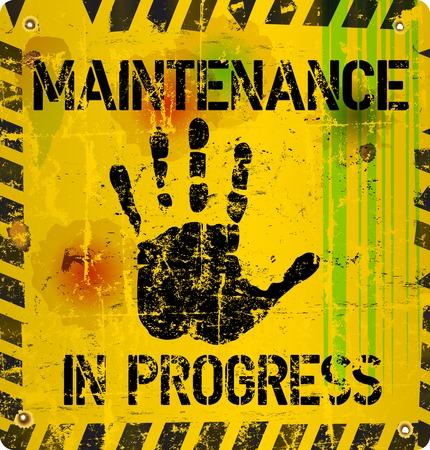 seguridad industrial: señal de advertencia de mantenimiento del sitio web, vector