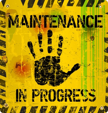 construction nails: website maintenance warning sign, vector