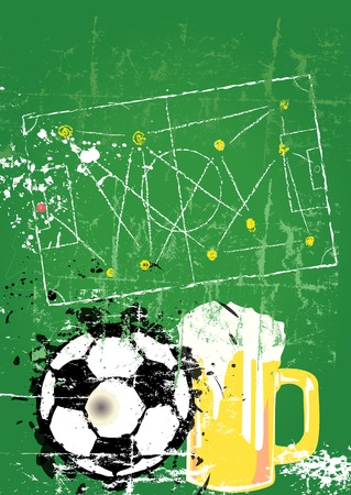 Soccer  Football and beer, free copy space, vector  Vector