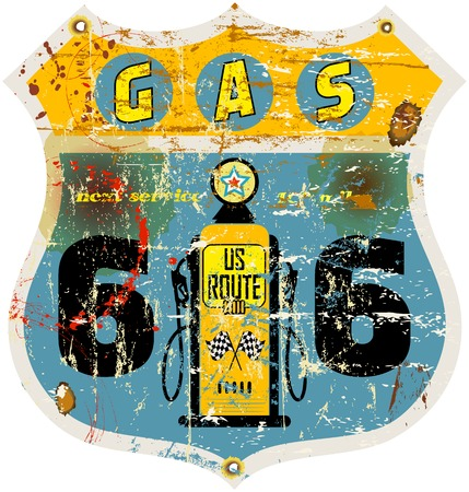 retro route 66 gas station sign,illustration Vector