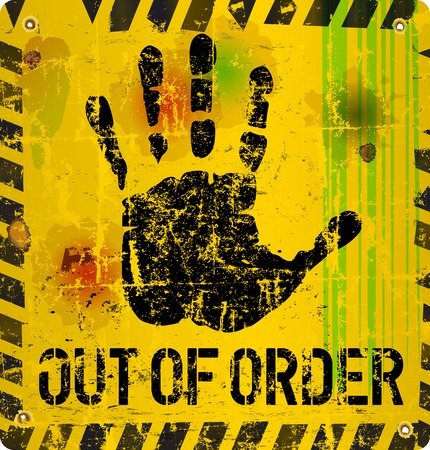 out of order: out of order sign, vector