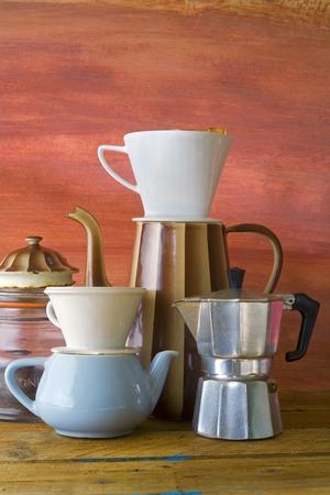 vintage coffee making, kitchen utensils Vector