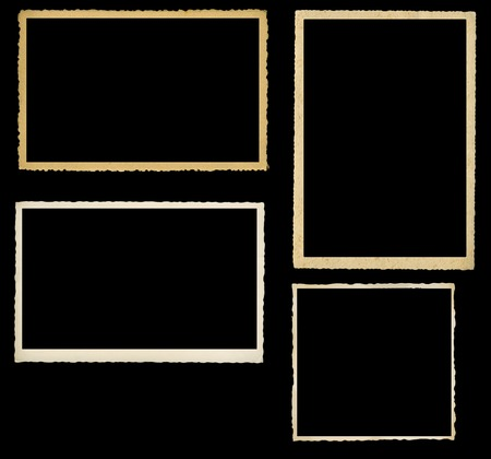 set of vintage photographic frames, knocked out on black background photo