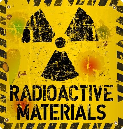 hazardous metals: radioactive material warning, vector illustration